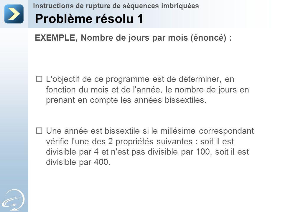 Problème résolu 1 EXEMPLE, Nombre de jours par mois (énoncé) :