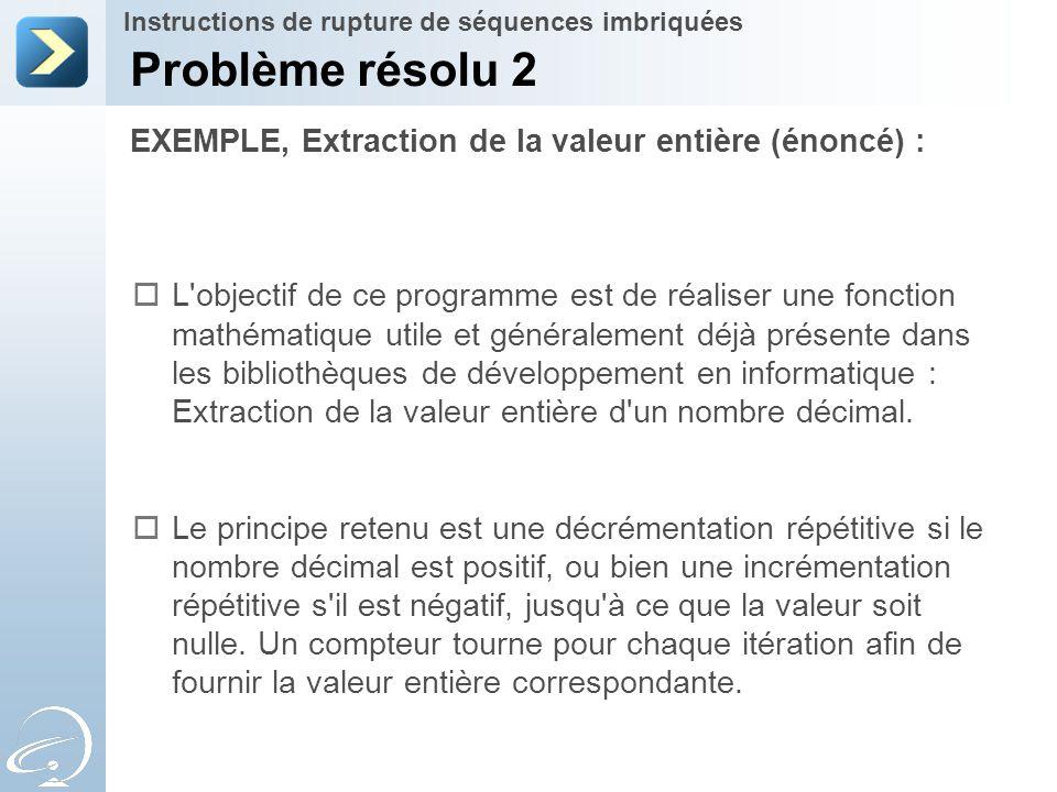 Problème résolu 2 EXEMPLE, Extraction de la valeur entière (énoncé) :