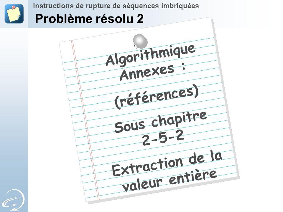 Algorithmique Annexes : Extraction de la valeur entière