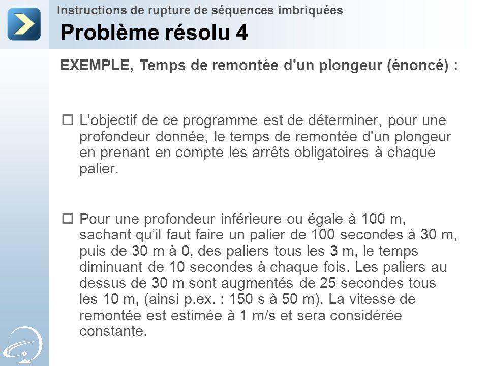 Problème résolu 4 EXEMPLE, Temps de remontée d un plongeur (énoncé) :