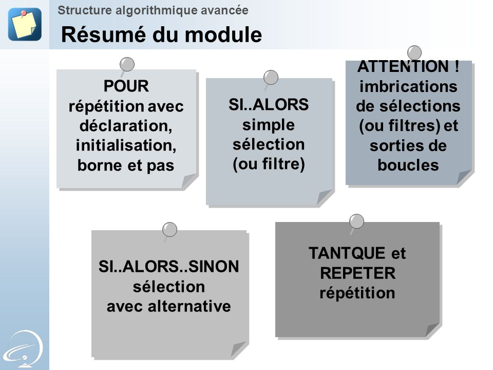 Résumé du module ATTENTION !