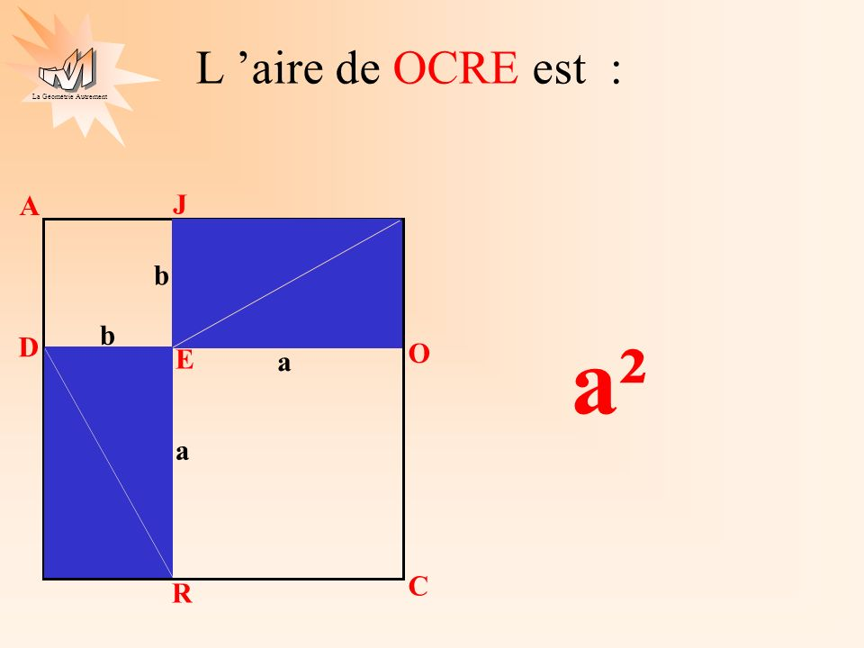 L 'aire de OCRE est : A J b b a² D O E a a C R