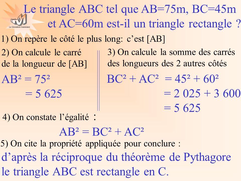 Le triangle ABC tel que AB=75m, BC=45m