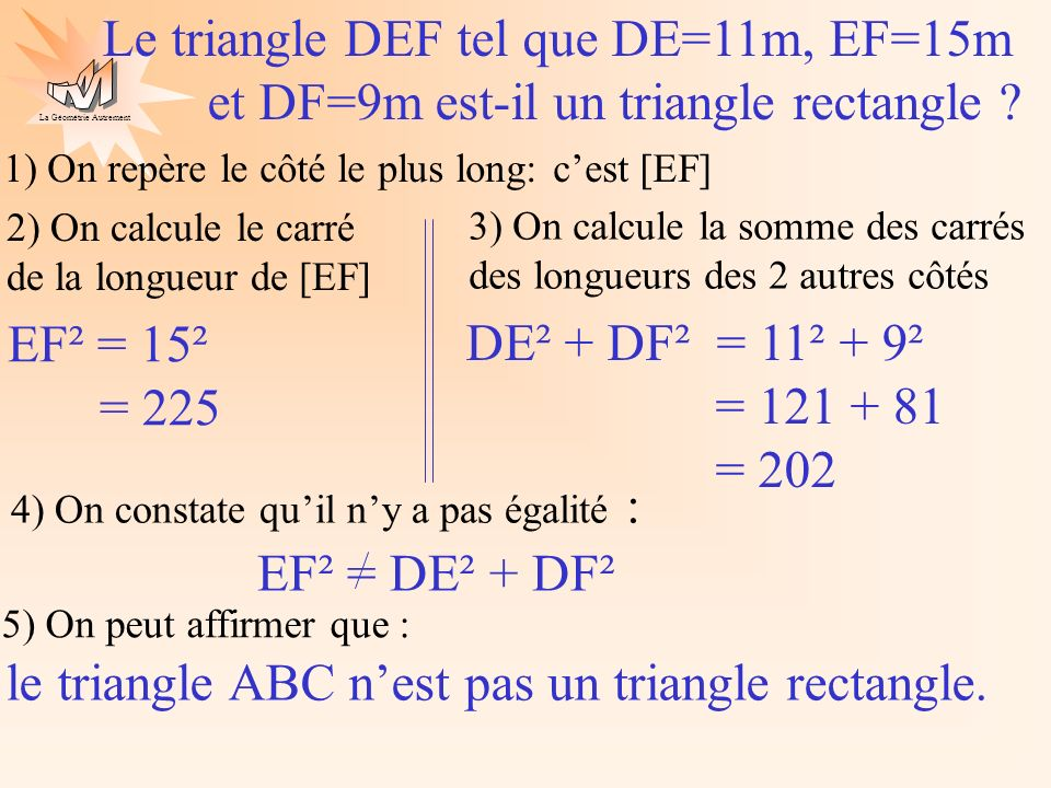 le triangle ABC n'est pas un triangle rectangle.
