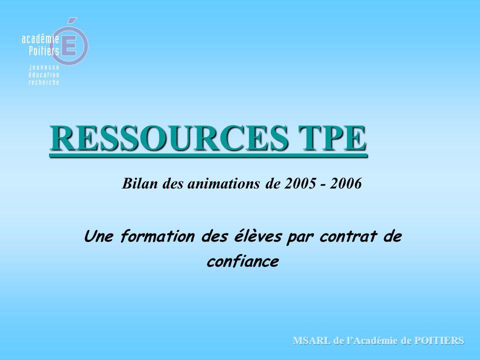 RESSOURCES TPE Bilan des animations de 2005 - 2006