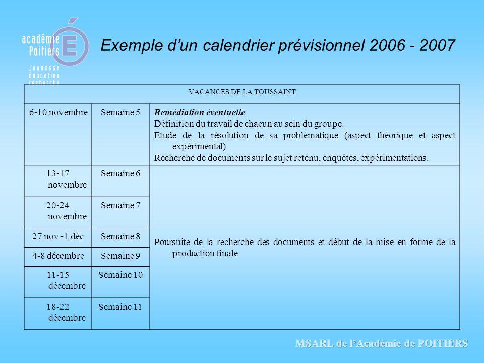 Exemple d'un calendrier prévisionnel 2006 - 2007