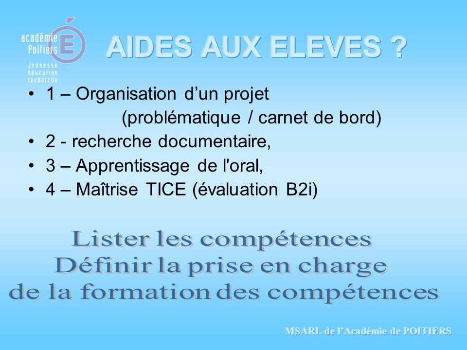 AIDES AUX ELEVES 1 – Organisation d'un projet