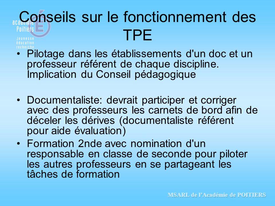 Conseils sur le fonctionnement des TPE