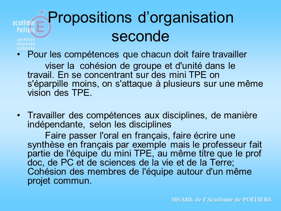 Propositions d'organisation seconde