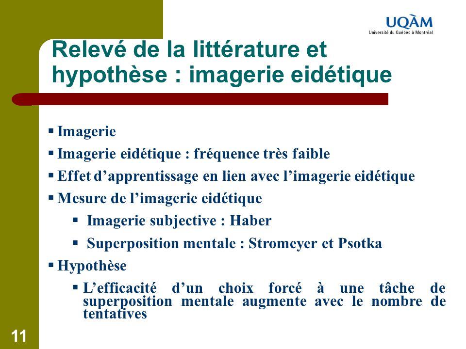 Relevé de la littérature et hypothèse : imagerie eidétique