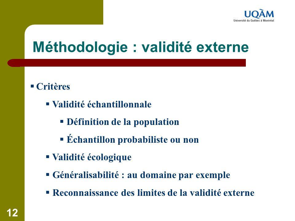 Méthodologie : validité externe