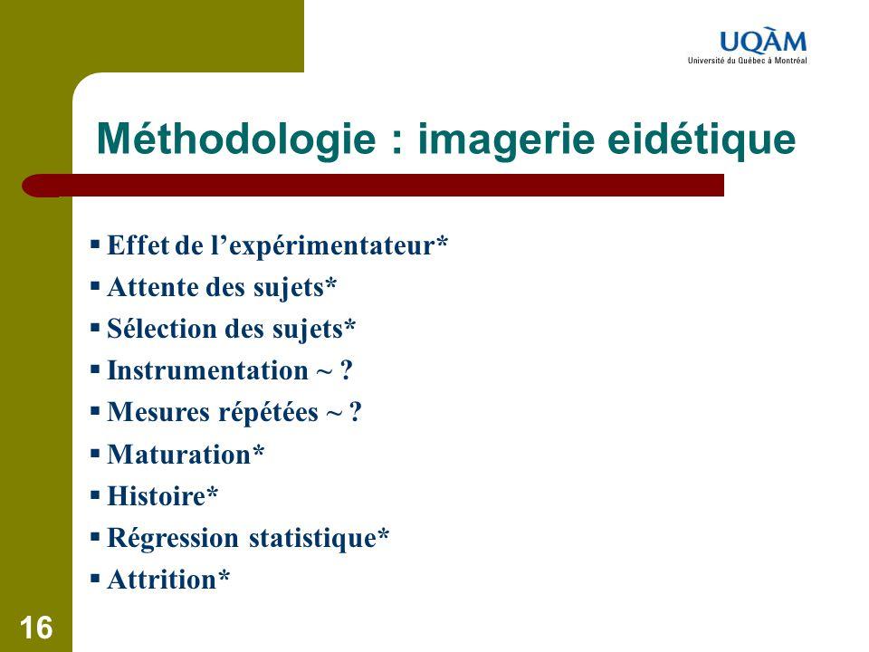 Méthodologie : imagerie eidétique