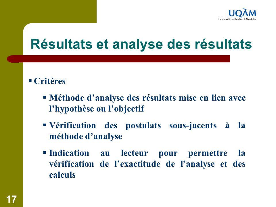 Résultats et analyse des résultats