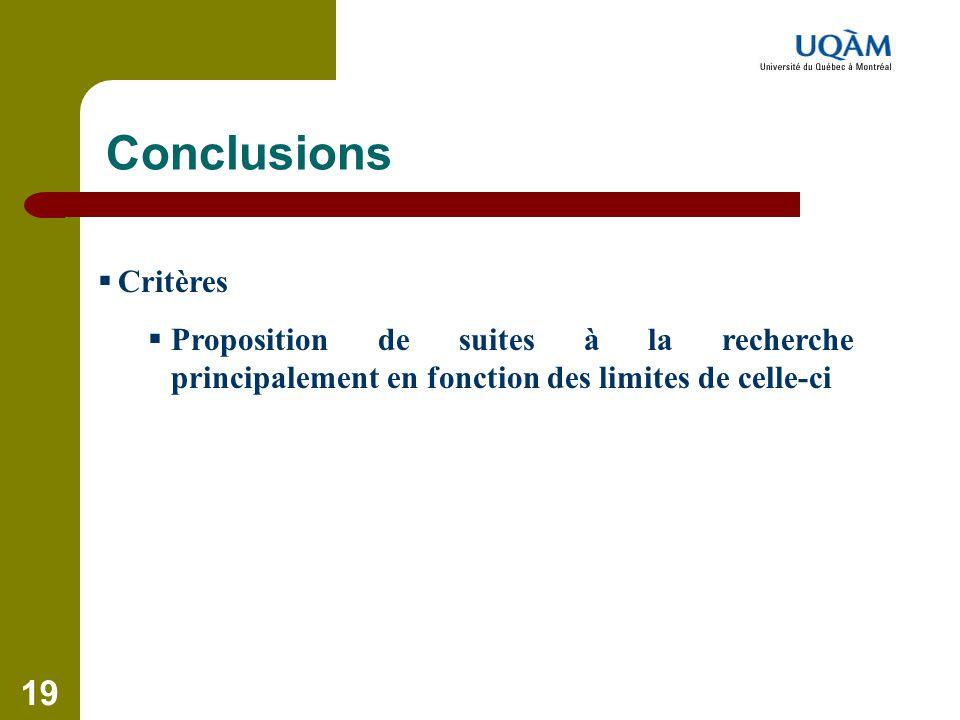 Conclusions Critères.