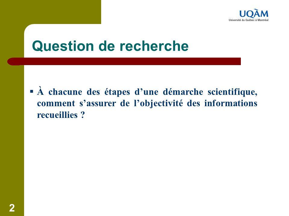 Question de recherche À chacune des étapes d'une démarche scientifique, comment s'assurer de l'objectivité des informations recueillies