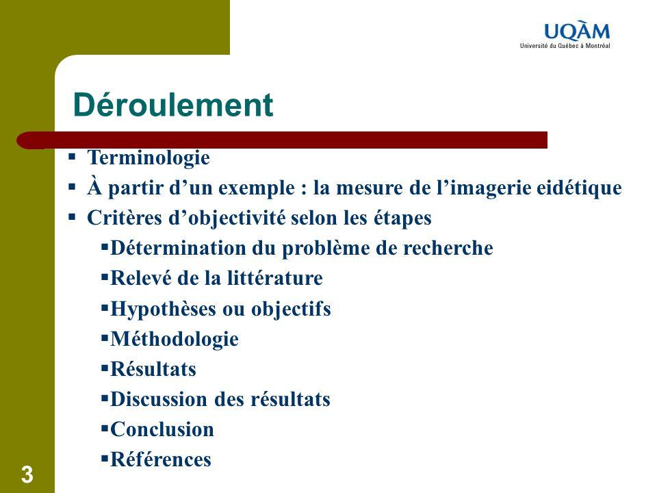 Déroulement Terminologie