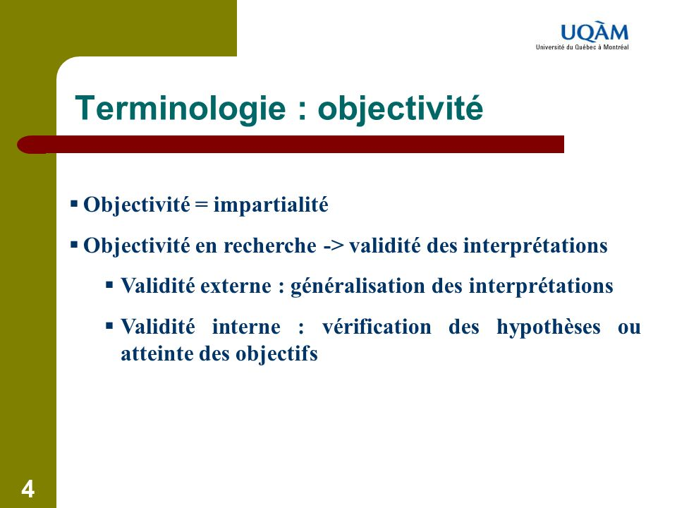 Terminologie : objectivité
