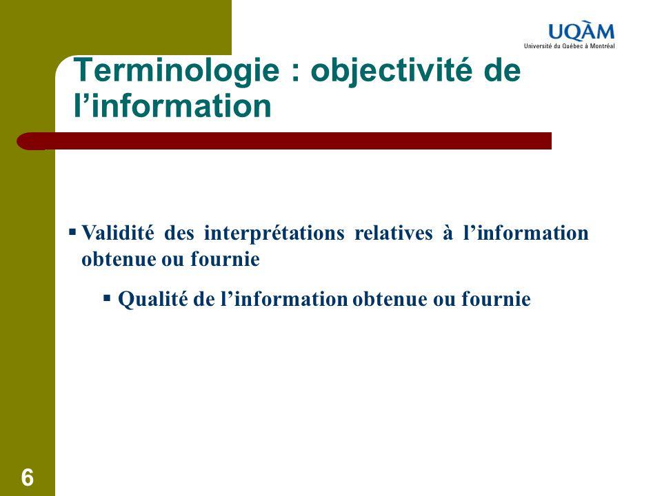 Terminologie : objectivité de l'information