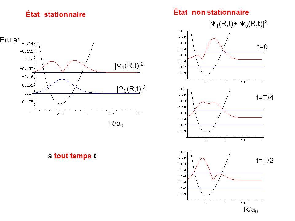 État non stationnaire État stationnaire. |Y1(R,t)+ Y0(R,t)|2. E(u.a) t=0. |Y1(R,t)|2. |Y0(R,t)|2.