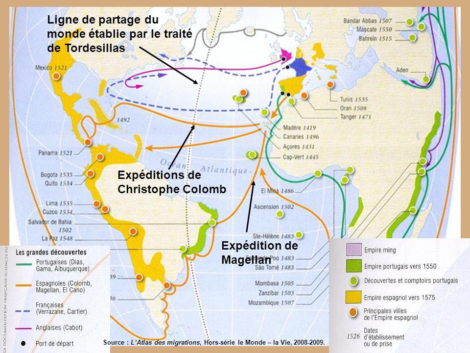 Ligne de partage du monde établie par le traité de Tordesillas