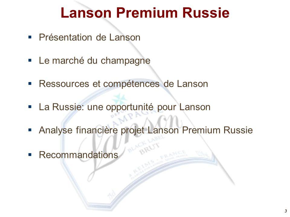 Lanson Premium Russie Présentation de Lanson Le marché du champagne