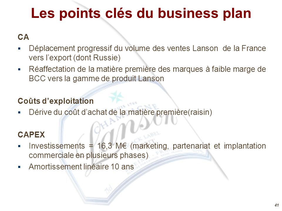 Les points clés du business plan