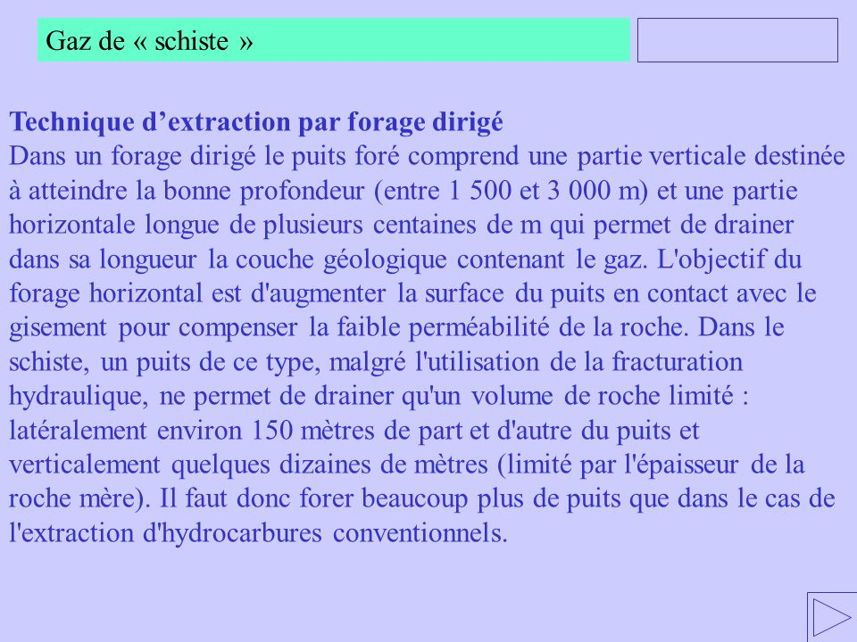 Gaz de « schiste » Technique d'extraction par forage dirigé.