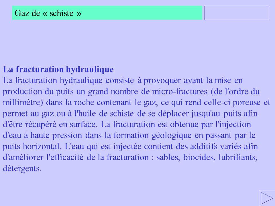 Gaz de « schiste » La fracturation hydraulique.