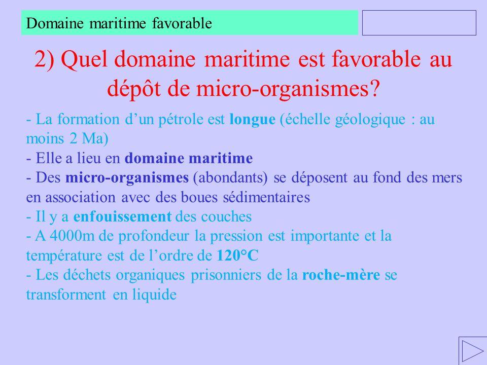 2) Quel domaine maritime est favorable au dépôt de micro-organismes