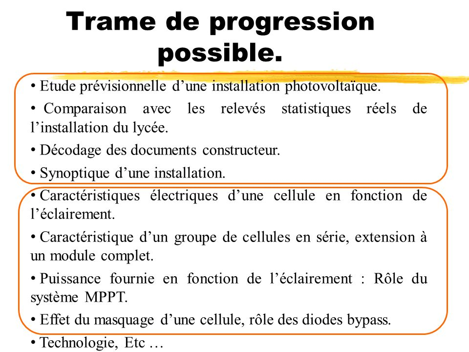 Trame de progression possible.