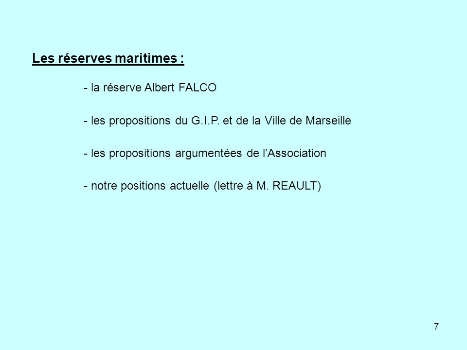 Les réserves maritimes :