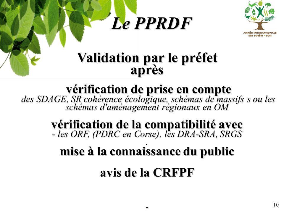 Le PPRDF Validation par le préfet après
