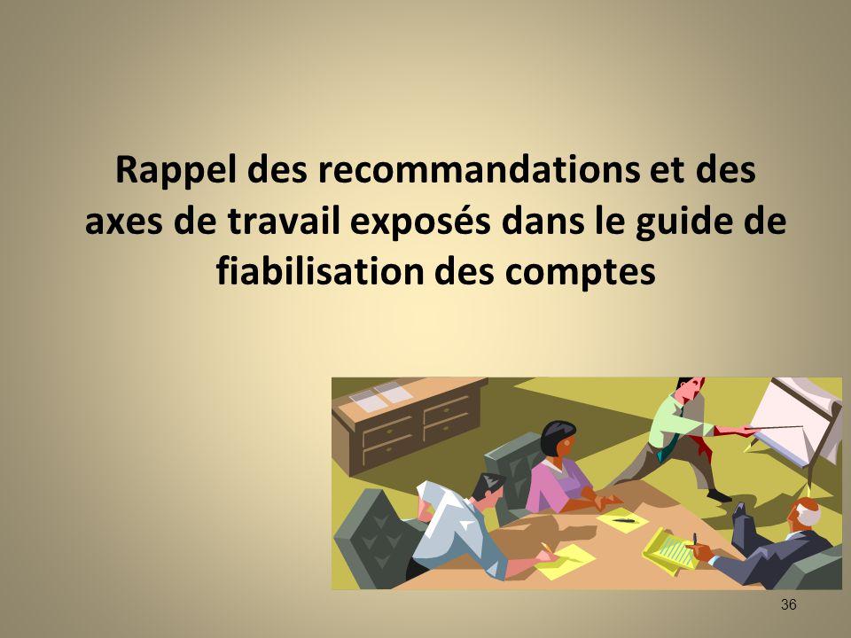 Rappel des recommandations et des axes de travail exposés dans le guide de fiabilisation des comptes