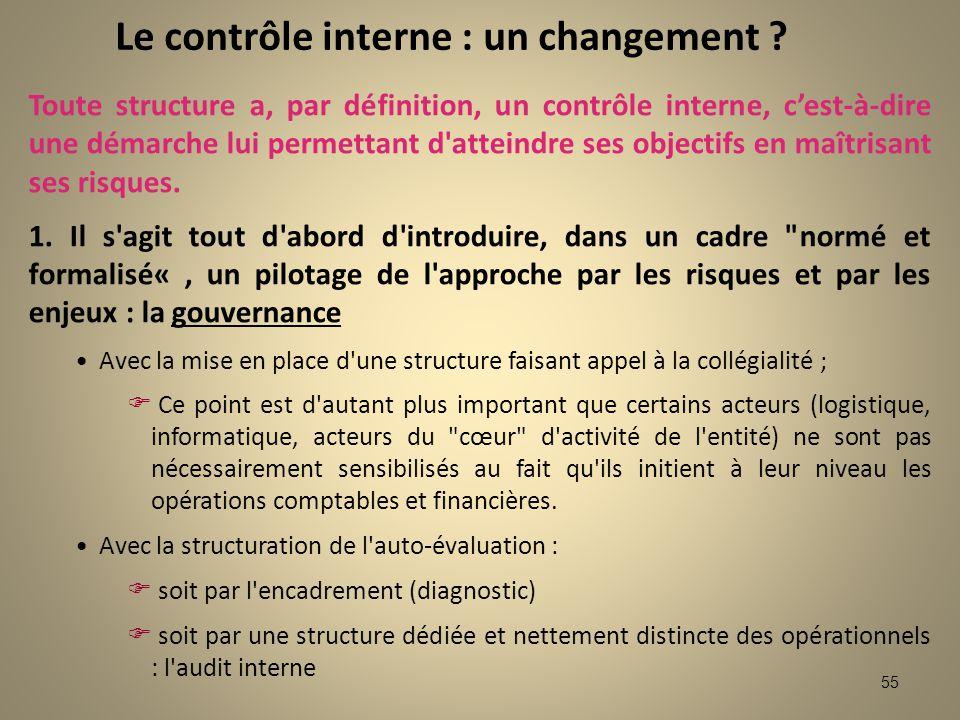 Le contrôle interne : un changement