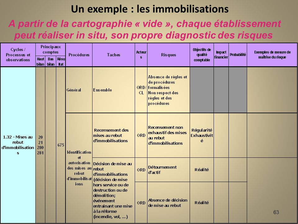 Un exemple : les immobilisations