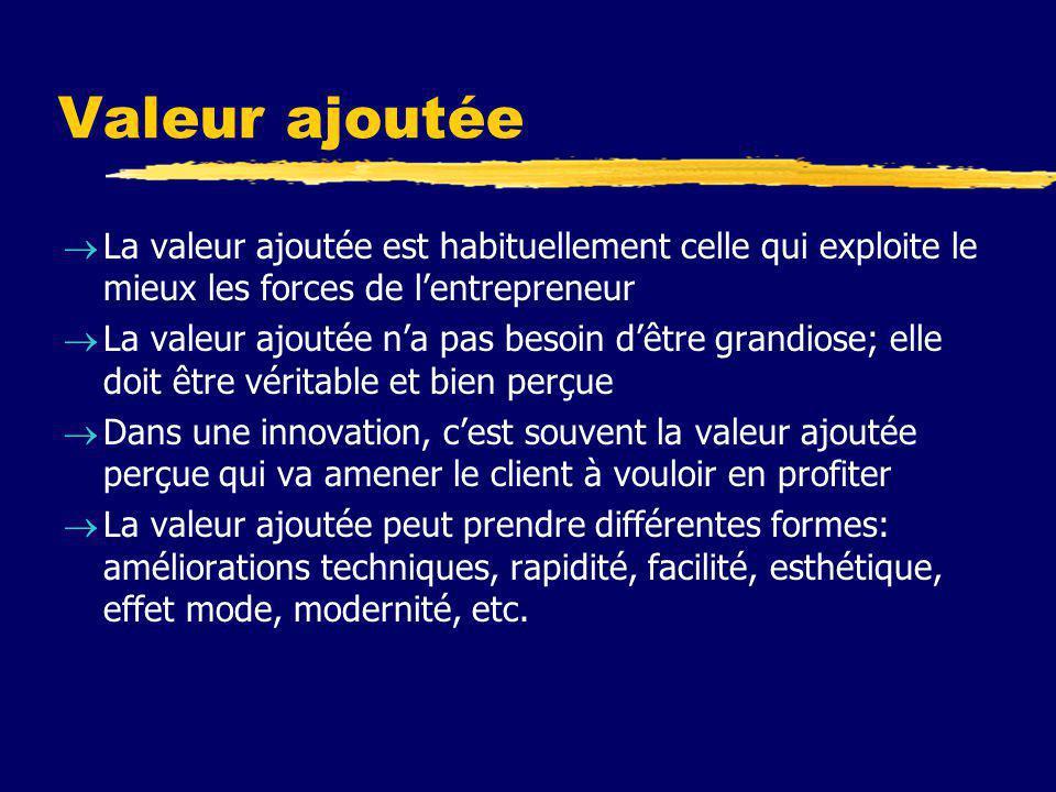Valeur ajoutée La valeur ajoutée est habituellement celle qui exploite le mieux les forces de l'entrepreneur.