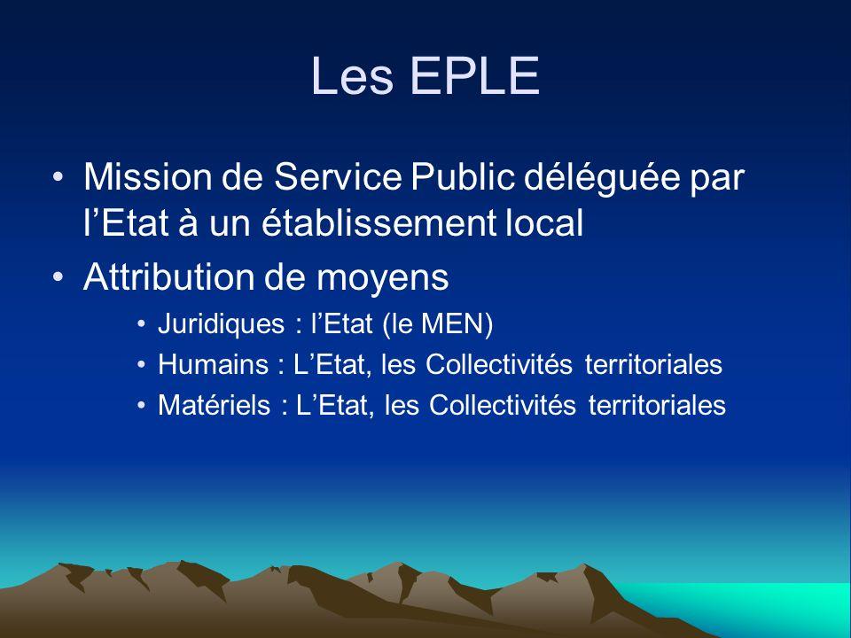 Les EPLE Mission de Service Public déléguée par l'Etat à un établissement local. Attribution de moyens.