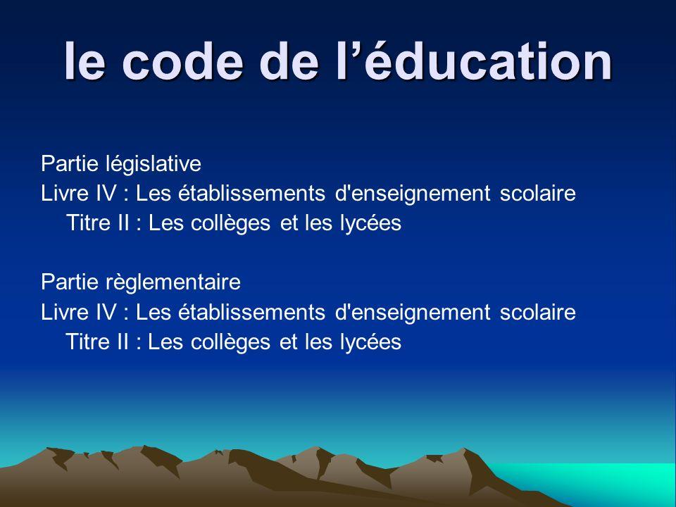 le code de l'éducation Partie législative