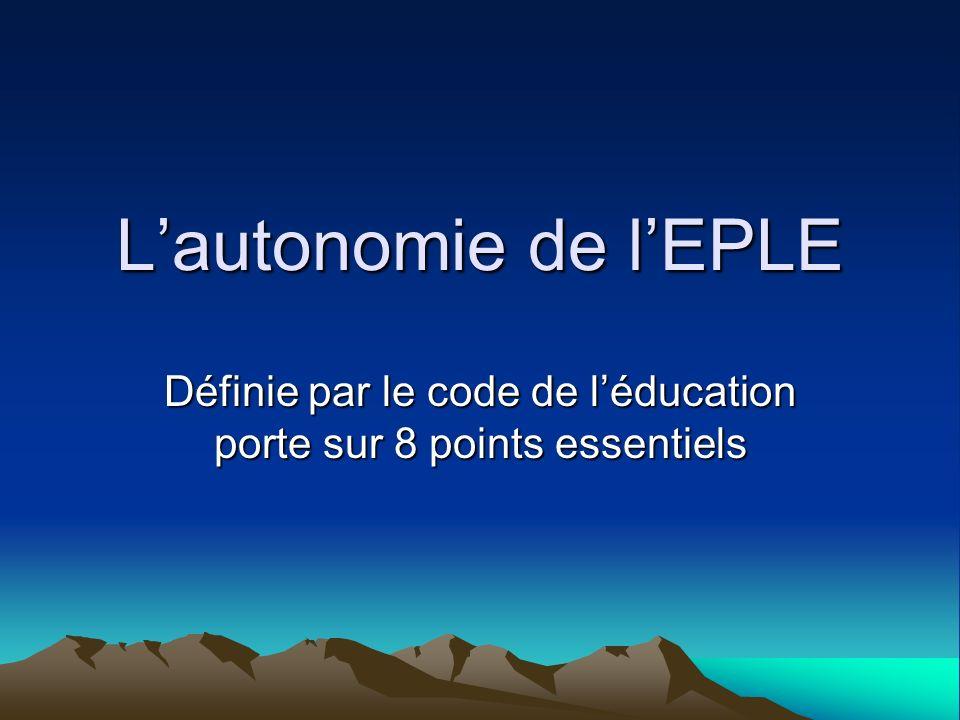 Définie par le code de l'éducation porte sur 8 points essentiels