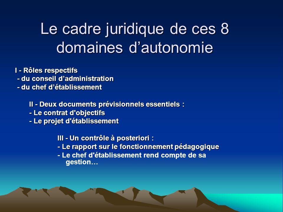 Le cadre juridique de ces 8 domaines d'autonomie