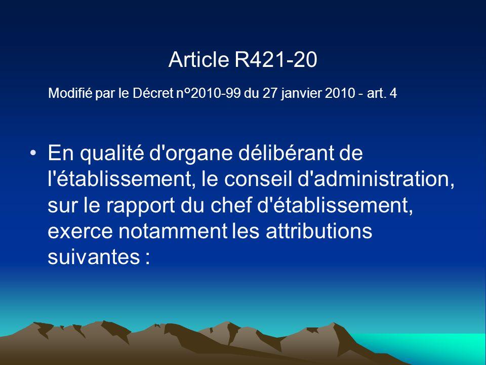 Article R421-20 Modifié par le Décret n°2010-99 du 27 janvier 2010 - art. 4.