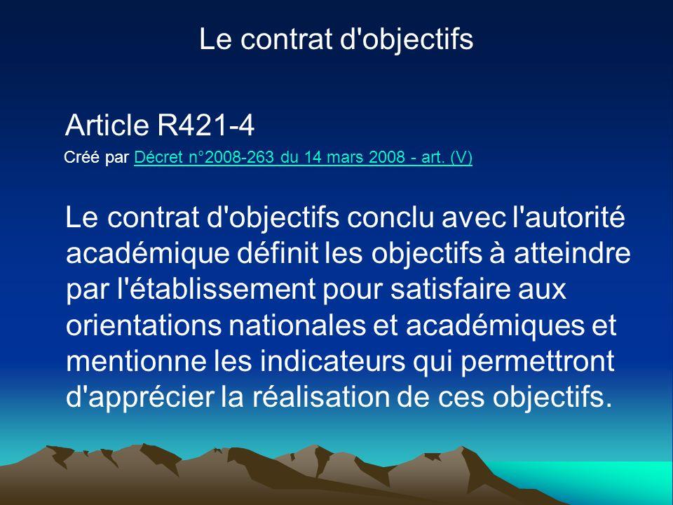 Le contrat d objectifs Article R421-4