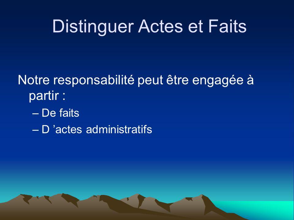Distinguer Actes et Faits
