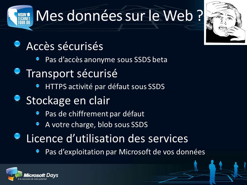 Mes données sur le Web ! Accès sécurisés Transport sécurisé