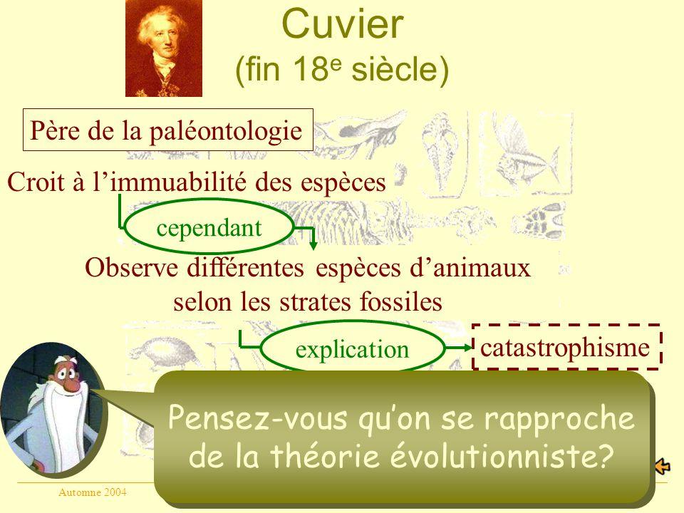 Cuvier (fin 18e siècle) Père de la paléontologie. Croit à l'immuabilité des espèces. cependant.