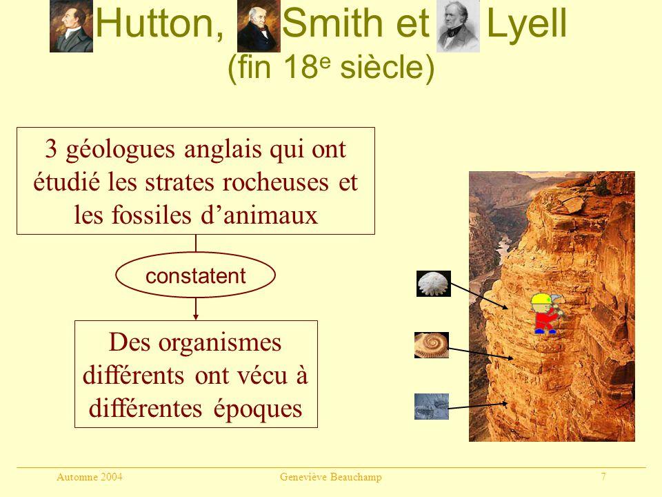 Hutton, Smith et Lyell (fin 18e siècle)
