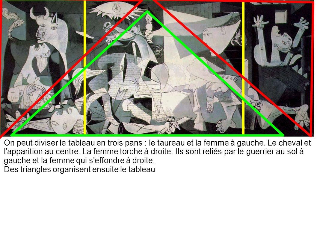 On peut diviser le tableau en trois pans : le taureau et la femme à gauche. Le cheval et l apparition au centre. La femme torche à droite. Ils sont reliés par le guerrier au sol à gauche et la femme qui s effondre à droite.