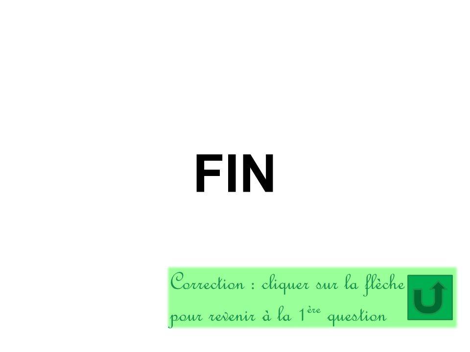 FIN Correction : cliquer sur la flèche pour revenir à la 1ère question