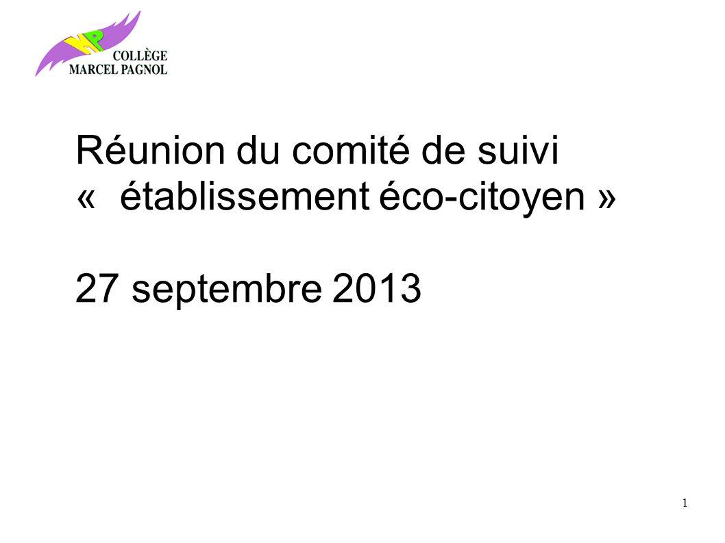 Réunion du comité de suivi « établissement éco-citoyen »