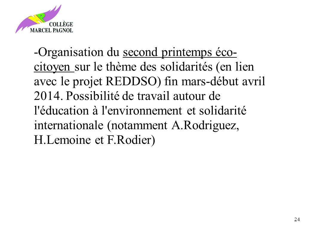 -Organisation du second printemps éco-citoyen sur le thème des solidarités (en lien avec le projet REDDSO) fin mars-début avril 2014. Possibilité de travail autour de l éducation à l environnement et solidarité internationale (notamment A.Rodriguez, H.Lemoine et F.Rodier)